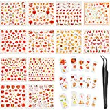 12 Feuilles Stickers Ongles Automne Stickers Ongles Feuilles d'Automne Autocollants...