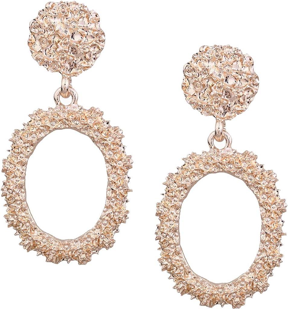 dailymall Exquisite Court Wind Big Earrings, Flash Oval Dangler Ear Drop Jewelry