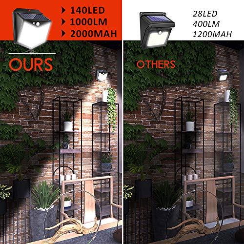 Solar Fence Lights Outdoor,[140 LED/ 6 Pack] Solar Motion Sensor Security Lights with Wireless IP 65 Waterproof, 1000 Lumen Solar Powered Lights for Deck Garden Step Porch Yard Patio Garage