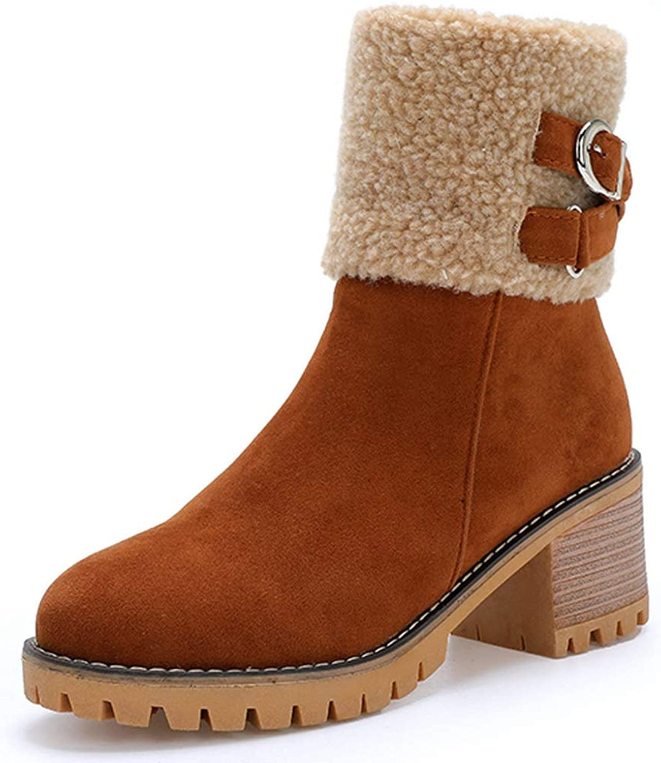 GIY Women's Winter Warm Snow Boots Round Toe Side Zipper Short Boots Suede Chunky Low Heel Faux Fur Ankle Snow Booties