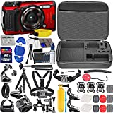 Olympus Tough TG-6 Digital Camera (Red) with All Sports Accessory Bundle – Includes: 32gb SD Card, Floating Strap, Gripster Spider Tripod, Case + Much More