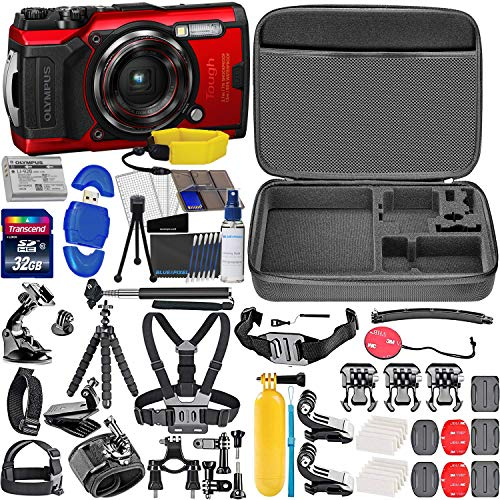 Olympus Tough TG-6 Digital Camera (Red) with All Sports Accessory Bundle – Includes: 32gb SD Card, Floating Strap, Gripster Spider Tripod, Case + Much More Connecticut