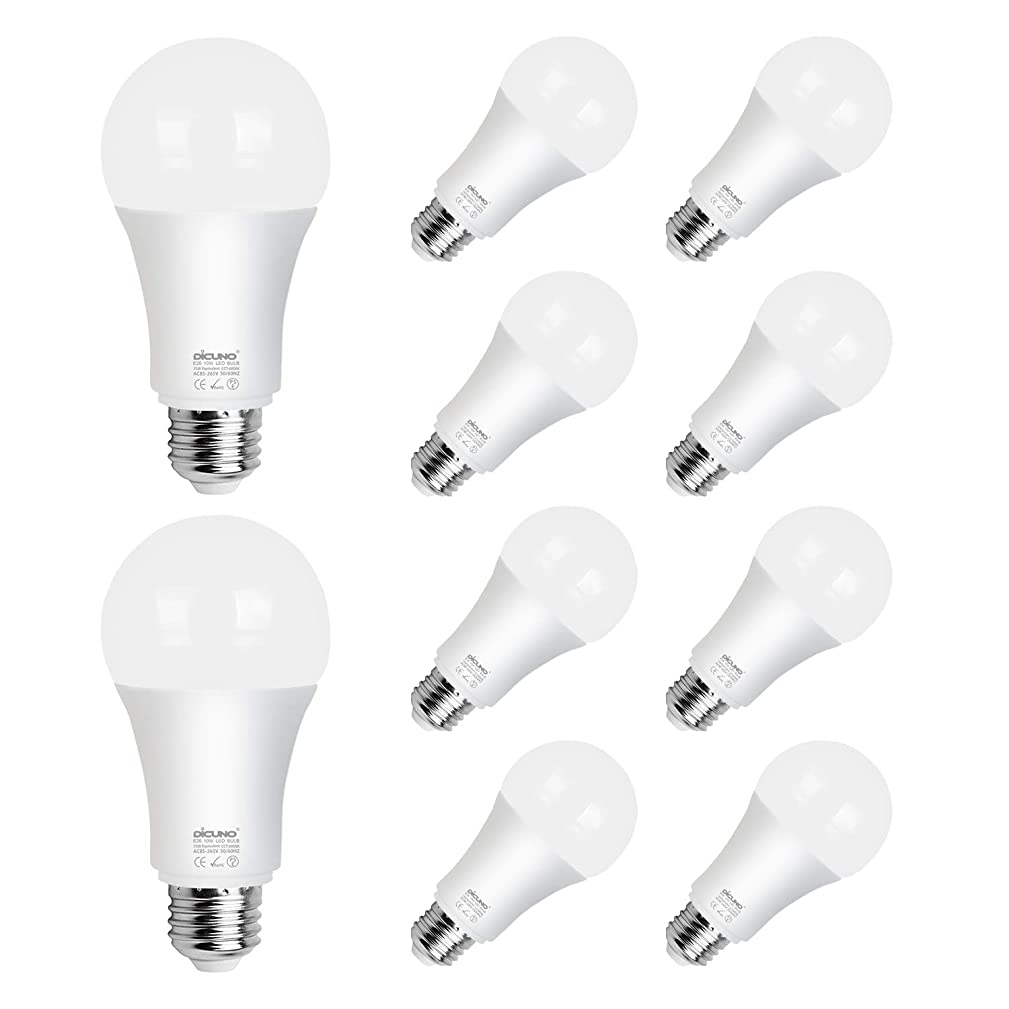 DiCUNO A19/A60 E26 LED Bulb 10W (75W Equivalent), Frosted Medium E26 Screw Base Lamp, 1100 Lumens, CRI 85+ and 360 Degree Beam Angle, Daylight White 6000K Non-dimmable LED Light of 10 Packages