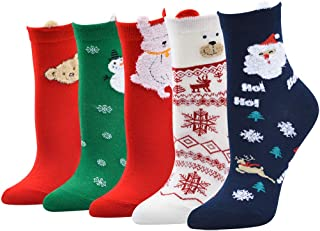 MYONA, 5 Pares Calcetines de Navidad para Mujer Hombre, Calcetines Deportivos Mujer Hombre con Estampado de 3D Animal de Dibujos Animados Reno de Santa Claus Snowman Calentar Calcetines Unisex