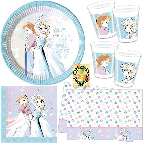 Frozen Sparkle Partyset 37tlg. Teller Becher Servietten Tischdecke für 8 Kinder