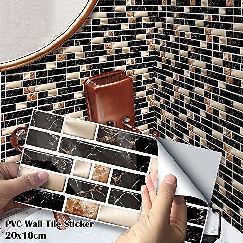 27 unids / paquete 20x10cm Gold Metallic Mármol negro PVC autoadhesivo Etiquetas engomadas de la pared DIY Baño de la cocina Tile de la pared Pegatina de escalera ( Color : 27pcs , Size : 21x10cm )