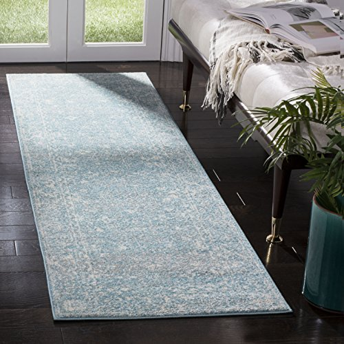 "Safavieh EVK270D-25 Evoke Collection Light Blue and Ivory Area Rug, 2'2"" x 5"