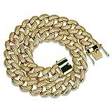 Moca Jewelry Hip Hop - Collar de cadena para hombre con circonita cúbica micropavé chapado en oro de 18 quilates, cadena de eslabones cubanos, 28 mm de ancho dorado