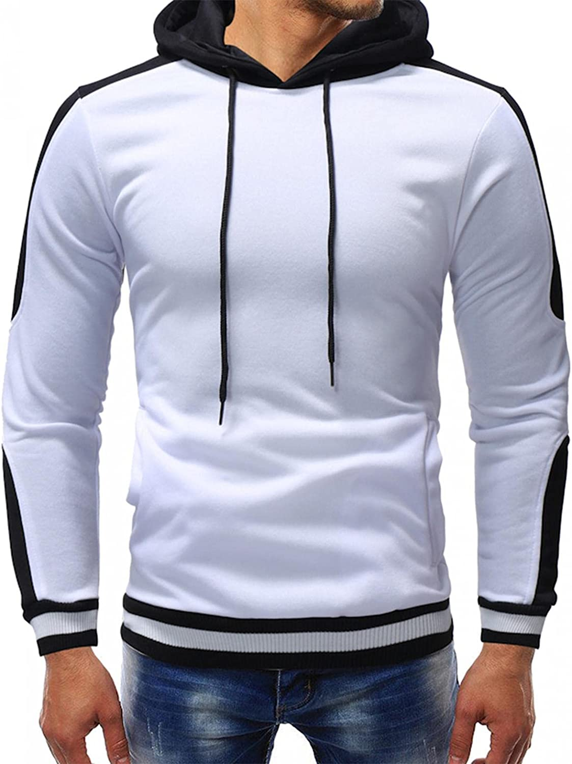 Sweatshirts for Trust Men Cotton Blend Contrast Max 46% OFF Color Pullover Hooded