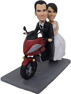 toppers de pastel de bodas de moto figuras de favor estatuilla personalizada de motocicleta hecha a mano estatuilla person...
