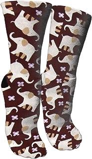 靴下 抗菌防臭 ソックス かわいい象動物スポーツスポーツソックス、旅行&フライトソックス、塗装アートファニーソックス30 cmロング靴下