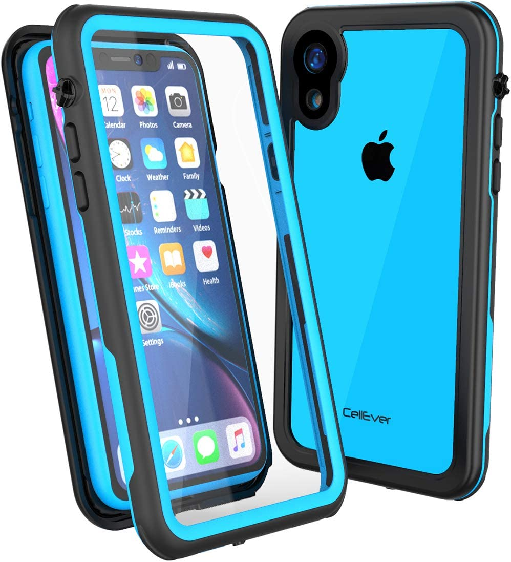 CellEver Compatible with iPhone XR Case, Clear Waterproof Shockproof IP68 Certified SandProof Snowproof Full Body Protective Clear Transparent Cover Designed for iPhone XR 6.1 inch (2018) - KZ Blue
