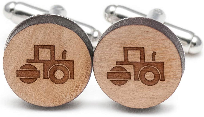 Steamroller Cufflinks, Wood Cufflinks Hand Made in the USA