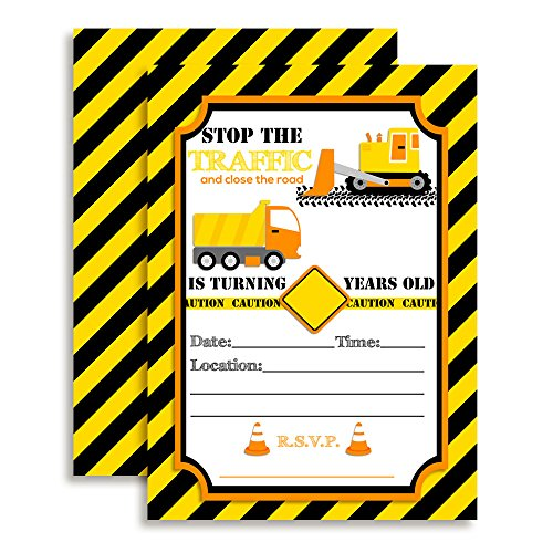 """Construction Digger Dump Truck Birthday Party Invitations, 20 5""""x7"""" Fill In Cards with Twenty White Envelopes by AmandaCreation"""