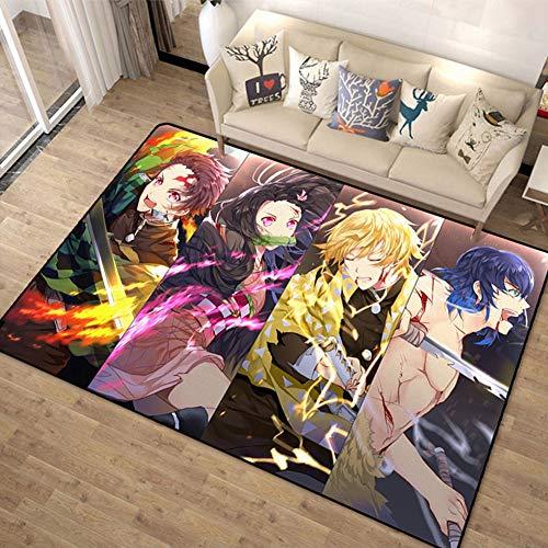 ZWPY Anime Carpet Non-Slip Area Rug Cartoon Anime Demon Slayer Pattern for Living Room, Bedroom, Kitchen, Bathroom for Teen Kid