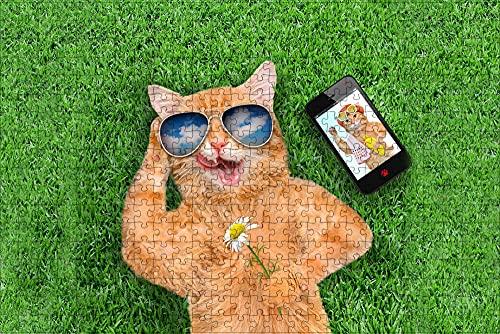 LHJOY niños educativos puzles 1000 Piezas Gato teléfono Inteligente Gracioso Gafas Animal Regalo de cumpleaños 75x50cm