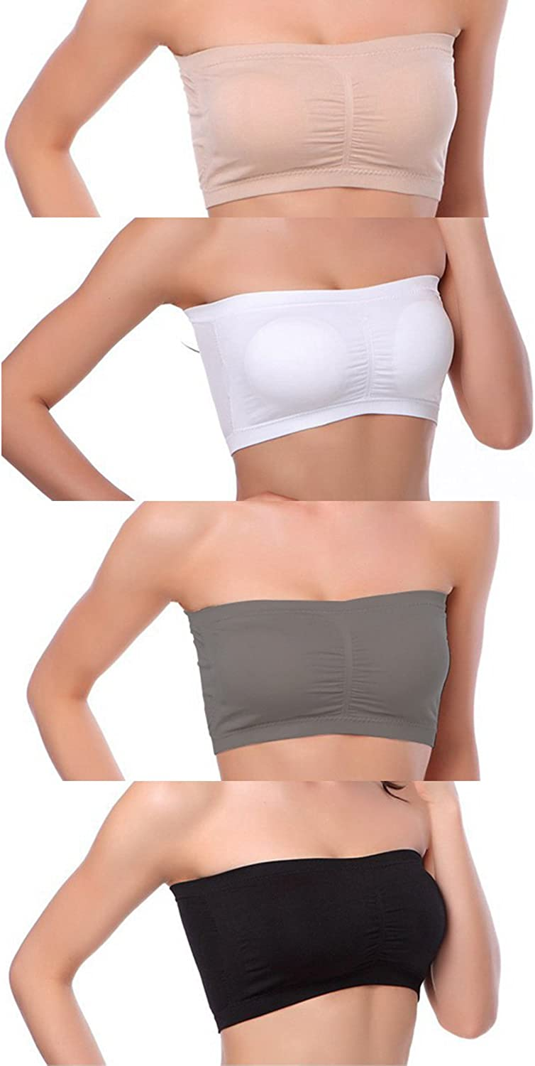 Details about  /Women Elastic Strapless Seamless Cropped Tube Top Bra Bandeau Underwear Cropped