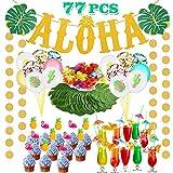 Bascolor 77 Piezas Aloha Hawaiano Tropical Decoración Aloha Bandera Puntos Guitarra Globos...