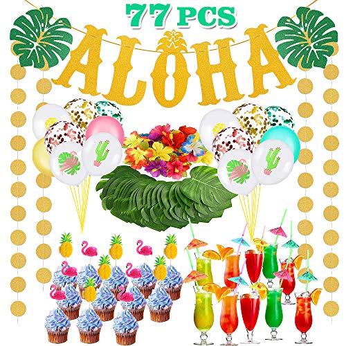 Bascolor 77Stk Hawaii Aloha Deko Aloha Banner Dot Girlande Hawaiian Luftballons Papierstrohe Folienballon Cupcake Topper Tropische Palmblätter Künstliche Hibiskusblüten Luau Sommer Party Dekoration