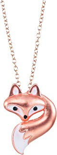 World End Imports Cute Little Fox Head and Tail on 18'' Link Chain Necklace with 3'' Extension