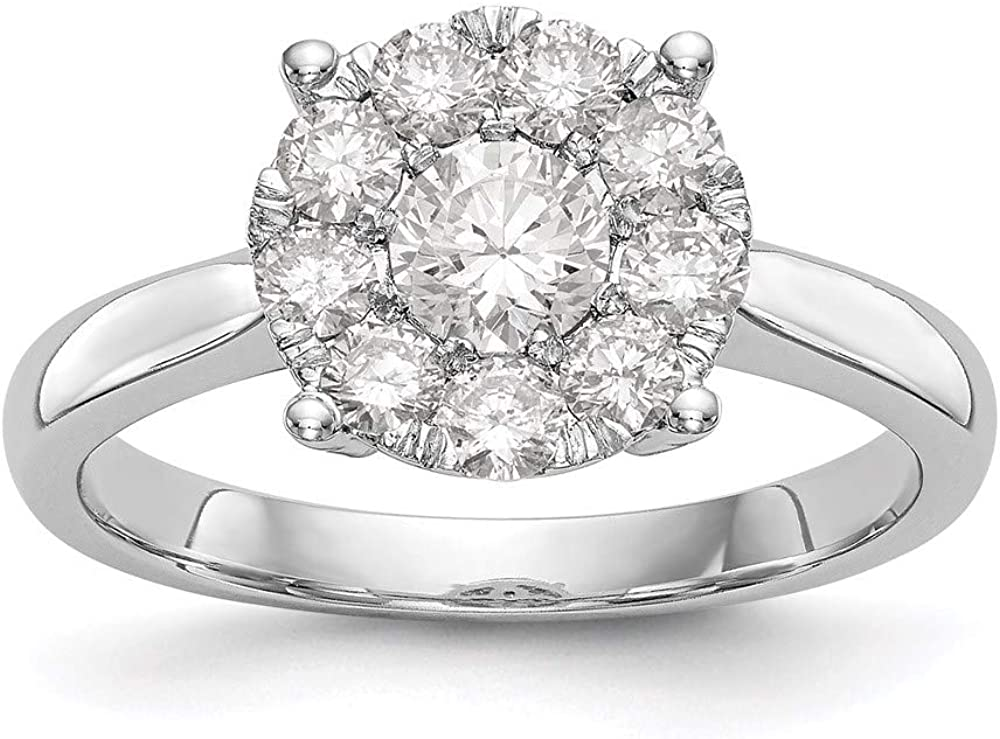 14k White Gold Complete Diamond Cluster Engagement New color Size Ring 7 Ranking TOP14