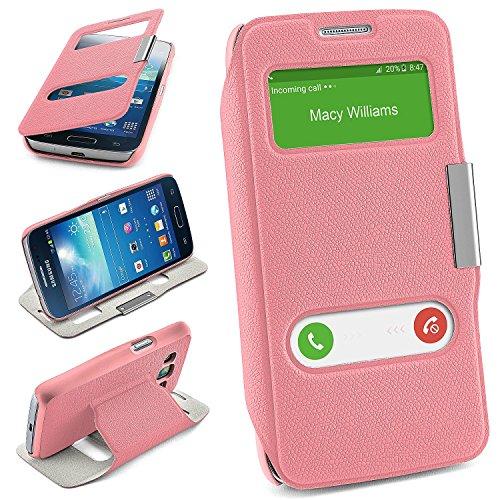 MoEx Bolso OneFlow para Funda Samsung Galaxy Express 2 Cubierta con Ventana | Estuche Flip Case Funda móvil Plegable | Bolso móvil Funda Protectora Accesorios móvil protección paragolpes en Icy-Pink
