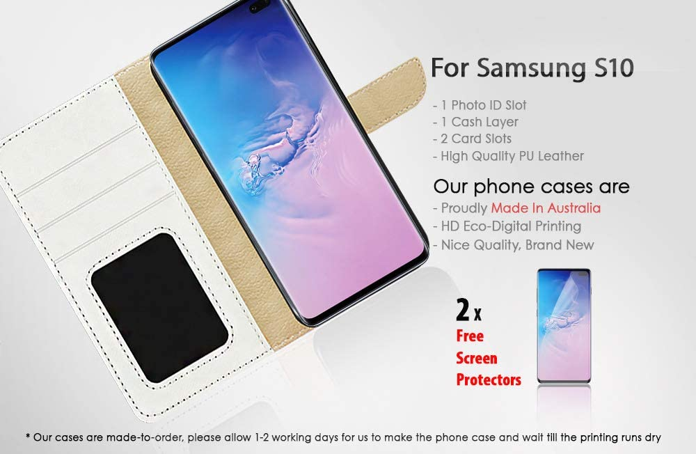 (for Samsung Galaxy S10) Flip Wallet Case Cover & Screen Protector Bundle - A21094 Art Dragonfly