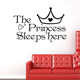 andy cool1PC The Princess Sleeps Here Quote Wall Sticker for Girl's Room Decal Useful and Practical