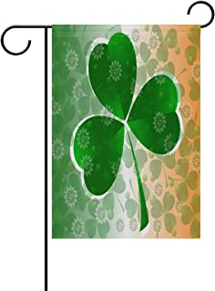 Naanle Irish St.Patrick's Day Double Sided Polyester Garden Flag 12 X 18 Inches, Clover Green Leaf Decorative Flag for Party Yard Home Decor