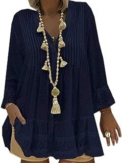 FSSE Women's V Neck Lace Stitching Long Sleeve Plus Size Shirts Top Blouse Dark Blue 3XL