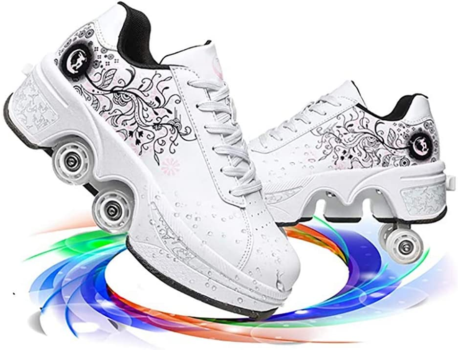 Limited 2021 spring and summer new time for free shipping LDTXH Double-Row Deform Wheel Automatic Invisible Shoes Walking