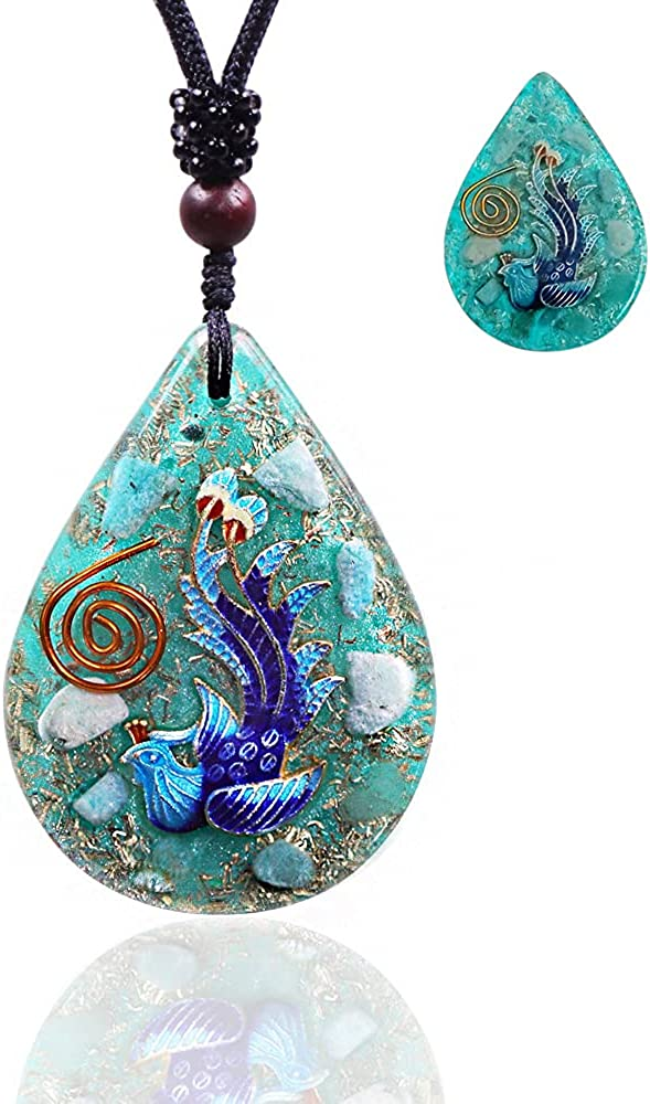 Amazonite Pendant Glow In The Dark Necklace Making Dreams a Reality - Bird of Paradise Orgone Pendant Orgone Energy Generator Necklace