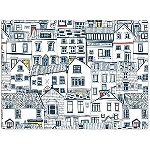 iSTYLE I Style Coastal Houses Placemats, Cork, Multi-Colour, Set of 4