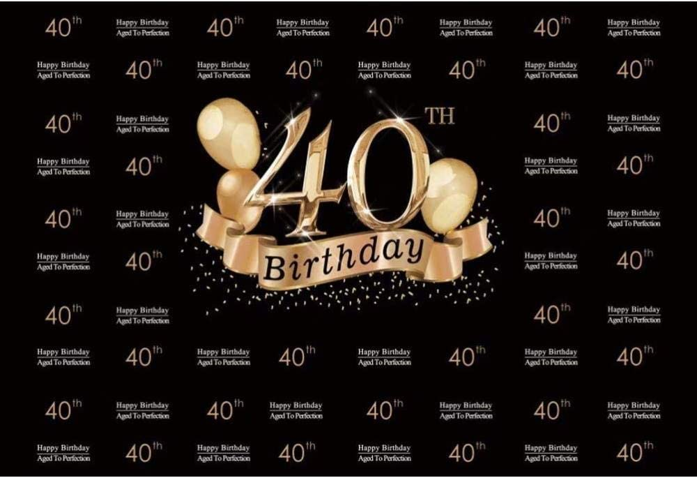 Zhy 40th Birthday Backdrop 7x5ft Polyester Fabric 40th Birthday Bash Photos Background Glitters Halo Photos Happy Birthday Background 40th Birthday Party Decor Birthday Cake Background Props