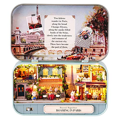Spilay Dollhouse Miniature with Furniture,DIY Dollhouse Kit Mini Iron Box Theater,1:24 Scale Creative Room Toys Best Birthday Gift for Adults and Teenagers (Roaming in Paris) Q12 2020