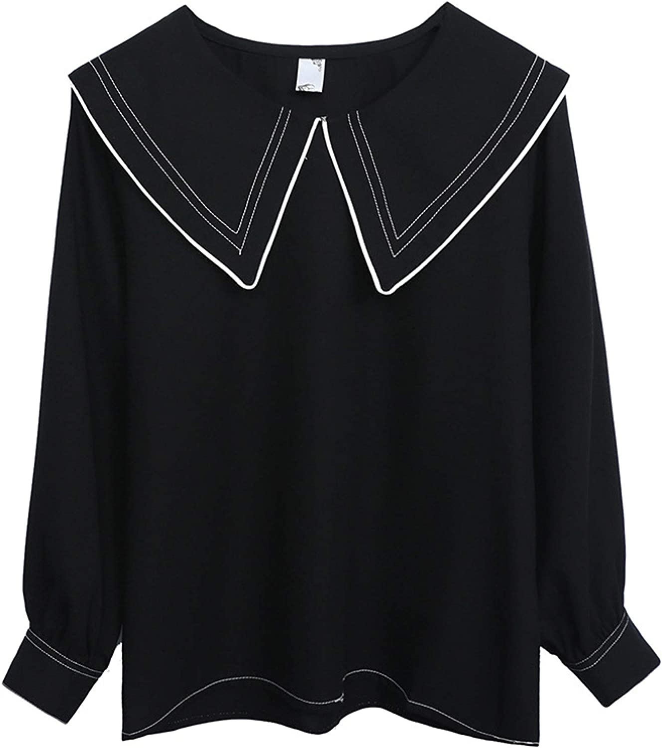 Ladies Very popular Spring Tops Fashion Simple Rapid rise Style Lo Round Retro Neck Thin
