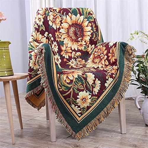 YIJIAHUI-Home Manta de sofá Algodón Reversible Boho borlas Decorativas Manta de Tiro Ideal para Yoga Camping Picnic Manta de Playa Ropa de Cama Decoración para el hogar Tejido Suave
