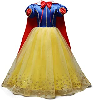 Snow White Princess Dress Up Costume Girls Halloween Carnival Cosplay Christmas Birthday Dress w/Cloak (Accessories)