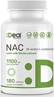Deal Supplement N-Acetyl L-Cysteine (NAC) with Milk Thistle Extract, 1100mg per Serving, 180 Capsules, Non-GMO, Made in USA