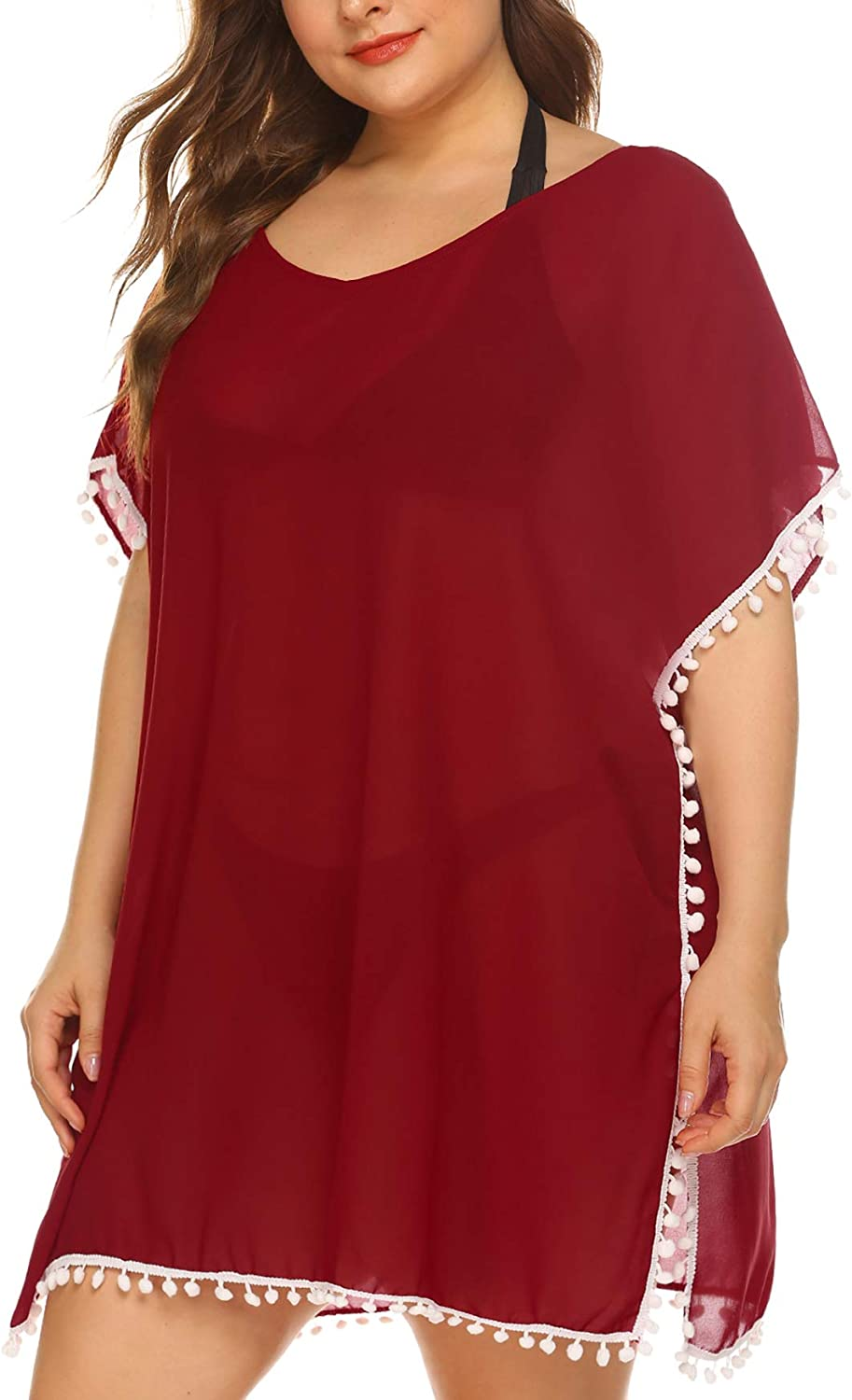 IN'VOLAND Womens Plus Size Bathing Suit Cover Up Chiffon Swimsuit Bikini Beach Cover Ups for Swimwear