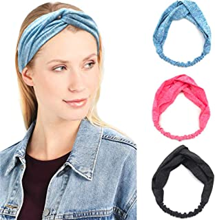 Catery Sport Headbands Criss Cross Headband Headpiece Elastic Turban Twisted Head Wrap Hair Band Stylish Yoga Workout Gym Athletic Travel Hairbands Fashion Hair Accessories for Women(Pack of 3)