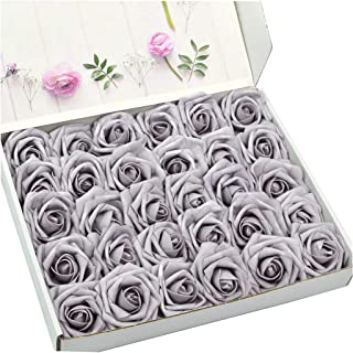 DerBlue 60pcs Artificial Roses Flowers Real Looking Fake Roses Artificial Foam Roses Decoration DIY for Wedding Bouquets Centerpieces,Arrangements Party Home Decorations (Pale Lilac)