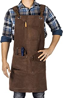Waxed Canvas Heavy Duty Shop Apron With Pockets Adjustable up to XXL for Men and Women in..