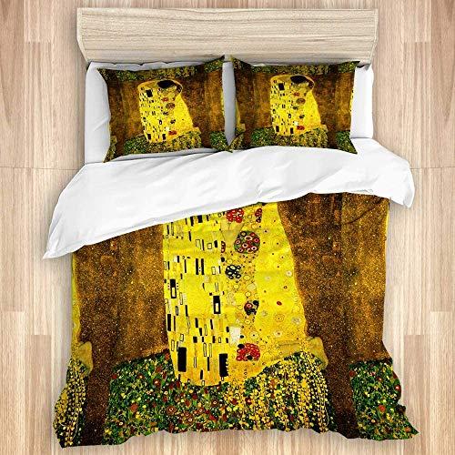 993 CCOVN Bettwäsche Set,Klimt inspirierte Batikmalerei der abstrakten Kunst aufgrund von Gustav Klimt,1 Bettbezug 200x200cm+2 Kopfkissenbezug 50x80cm