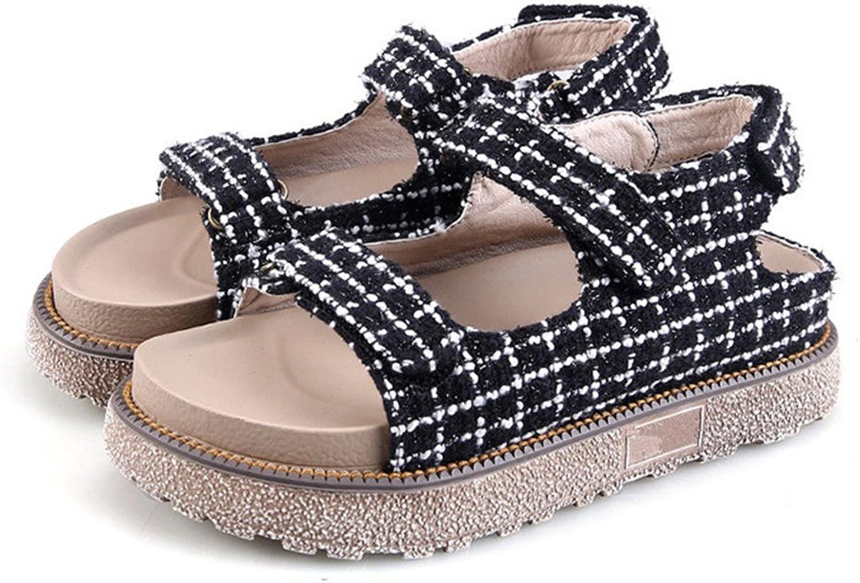 24XOmx55S99 Women's Fashion Open Toe Velcro Platform Sandals