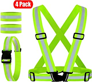 Reflective Vest, Reflective Glow Belt with 2Pack Reflector Armbands, Adjustable Elastic Safety Vest Outdoor Reflective Belt High Visibility, Ultralight & Comfy for Running, Jogging, Walking, Cycling,