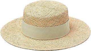 PRAMY Summer Women'S Fisherman Hats Bucket Casual Sun Warp Knitting Berretti di paglia con treccia Beach Viaggio quotidian...