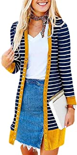 Women's Casual Long Sleeve Button Down Stripe Knit Ribbed Neckline Cardigans