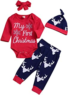 Xmas gift Baby Girl Boy Clothes My 1st Christmas Romper Hat Headband Deer Print Pants Outfit Set