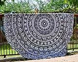raajsee Tapisseries Noires et Rondes Mandala de Style Hippie, Couvre-lit, Drap de Plage en Toile de Coton, tenture Murale, Tapis Rond de Yoga (éléphant Blanc Noir)